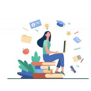 Student with laptop studying on online course. Woman sitting on stack of books and using computer. Vector illustration for internet school, knowledge, education concept